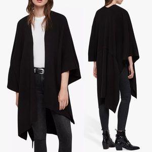 NEW AllSaints Rib Tie Ruana Wool Scarf Wrap Black